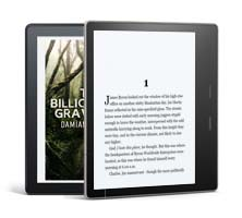Kindle Oasis showing the cover and first page of The Billionaire's Graveyard
