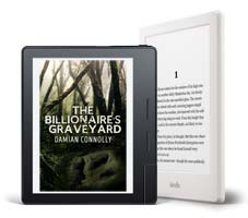Two Kindles showing the cover and first page of The Billionaire's Graveyard
